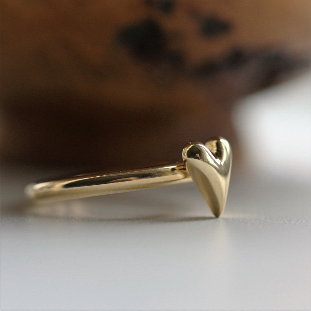 Unusual 9ct Wild at Heart ring handmade by Pretty Wild Jewellery