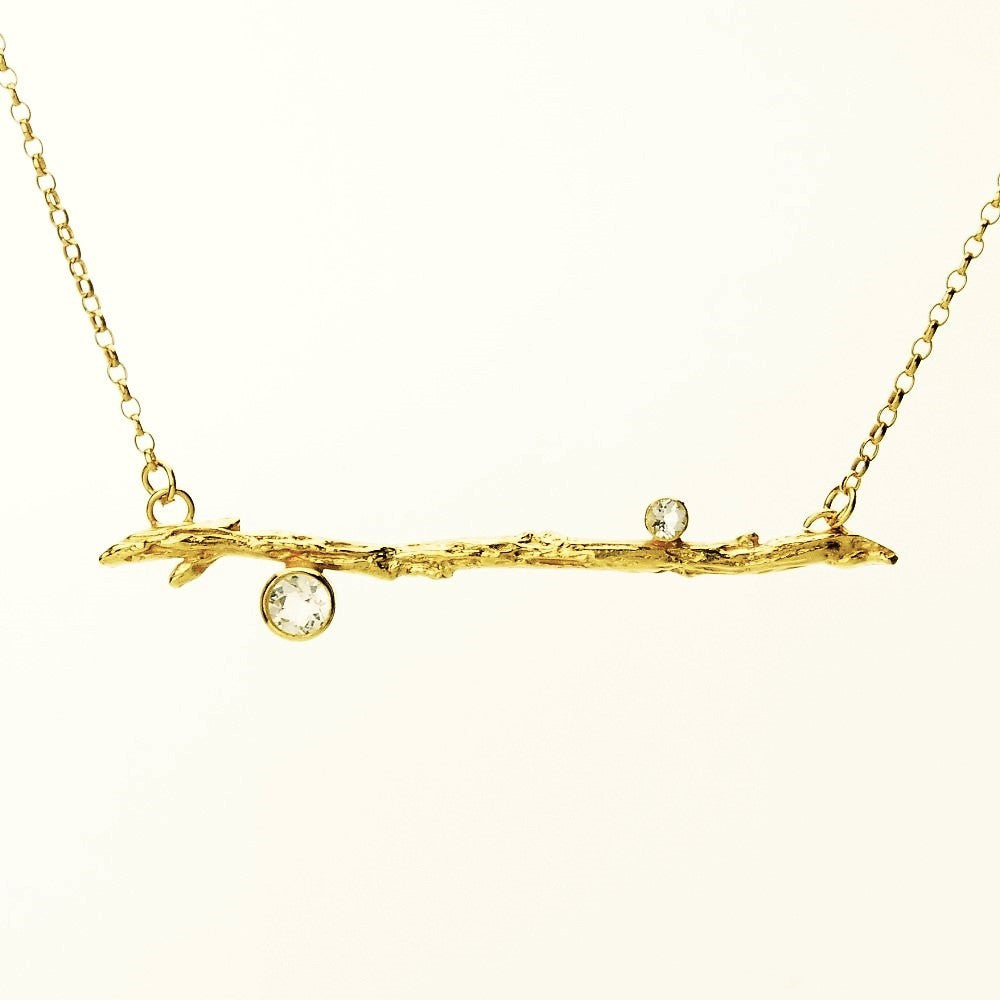 Yellow Gold Twig Branch Topaz Necklace