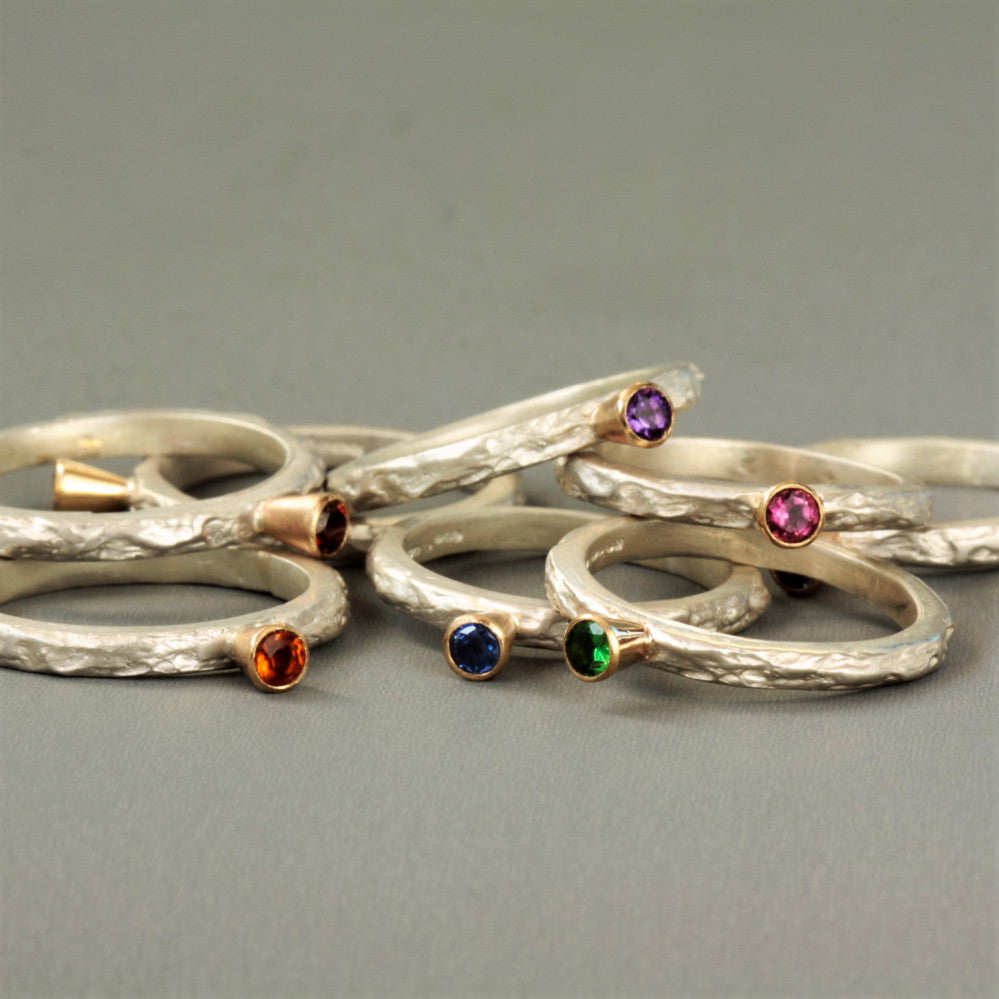Treasure Chest silver and gold gemstone textured rings