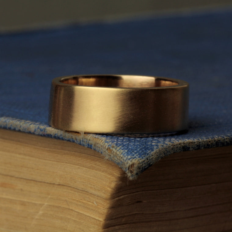 handmade 8mm wide brushed matt finish gold wedding band