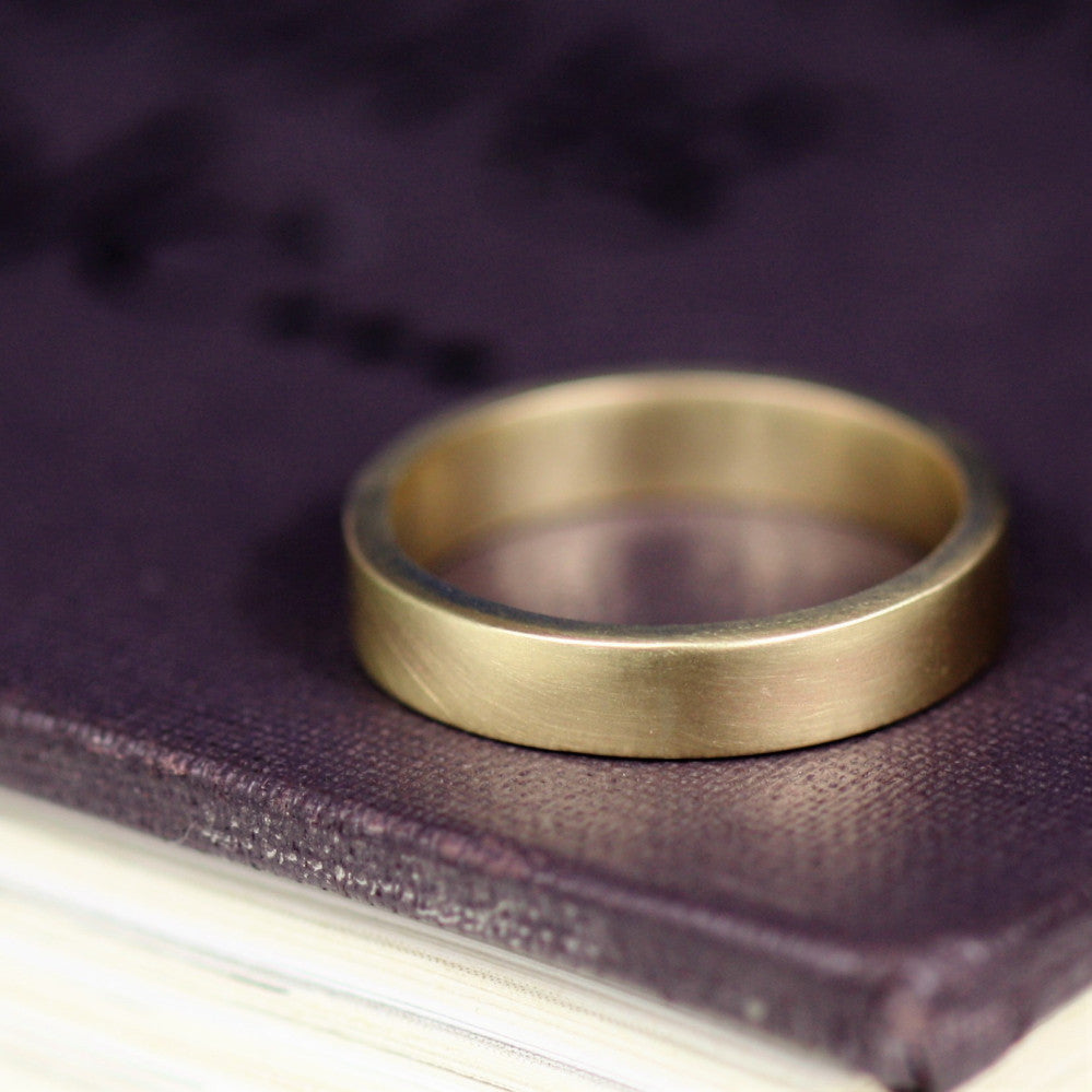 9ct Sold Gold Organic Flat Band Wedding Ring