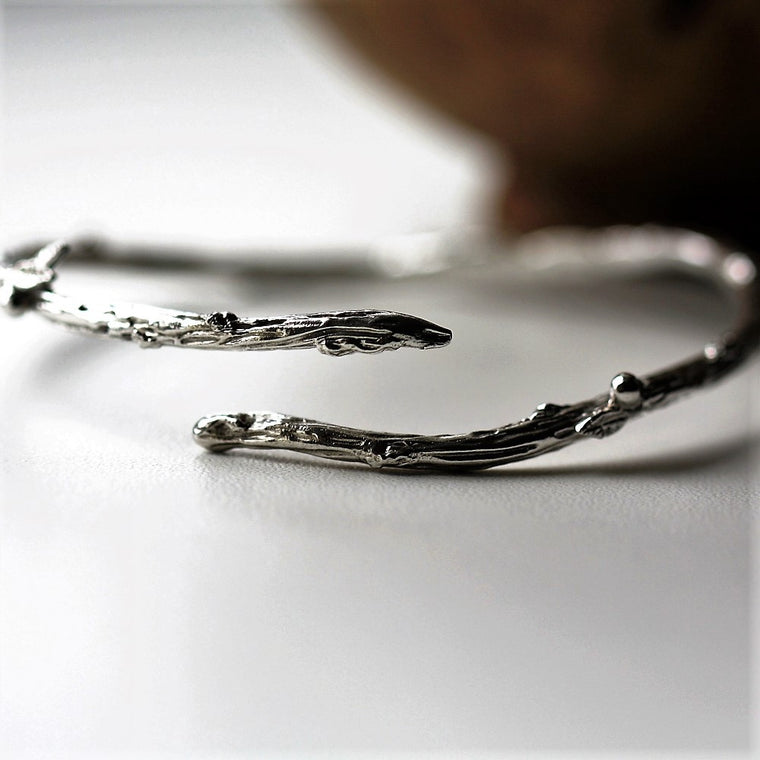 Sterling Silver Twig Branch Handmade Designer Bangle