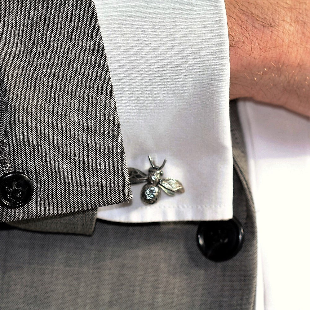 handmade bumble bee gemstone cuff links