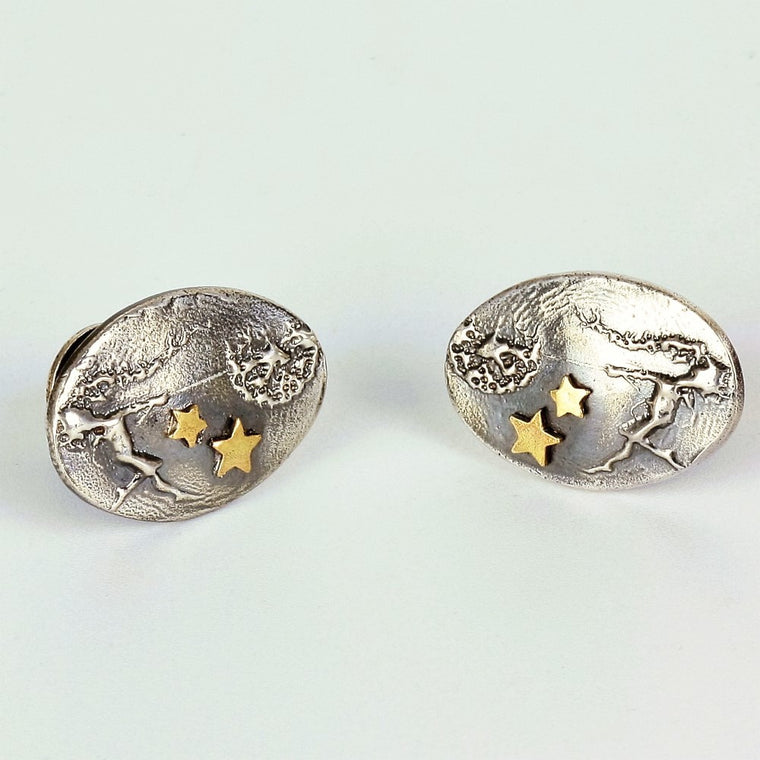 luxury statement fairy cufflinks Dancing with Dandelions with added gold stars