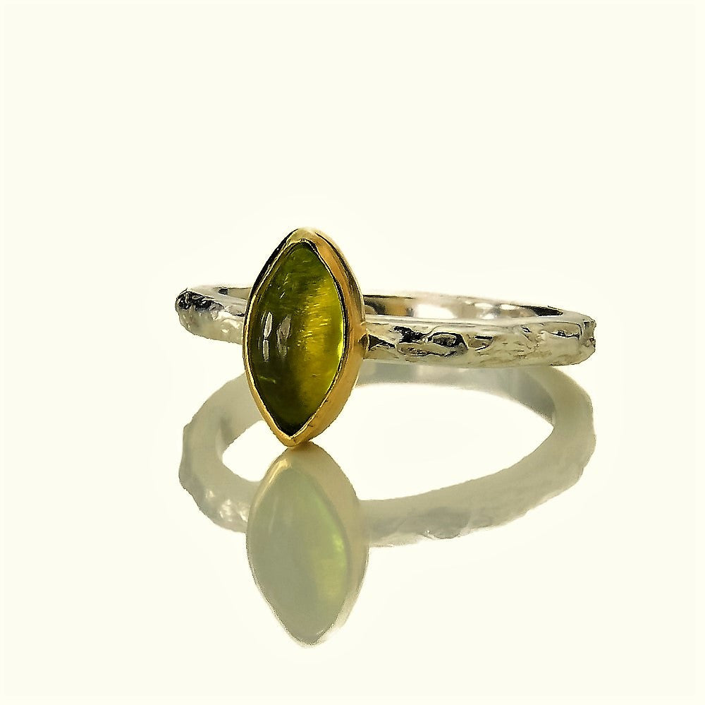 Textured silver treasure ring featuring a solid gold bezel set Peridot