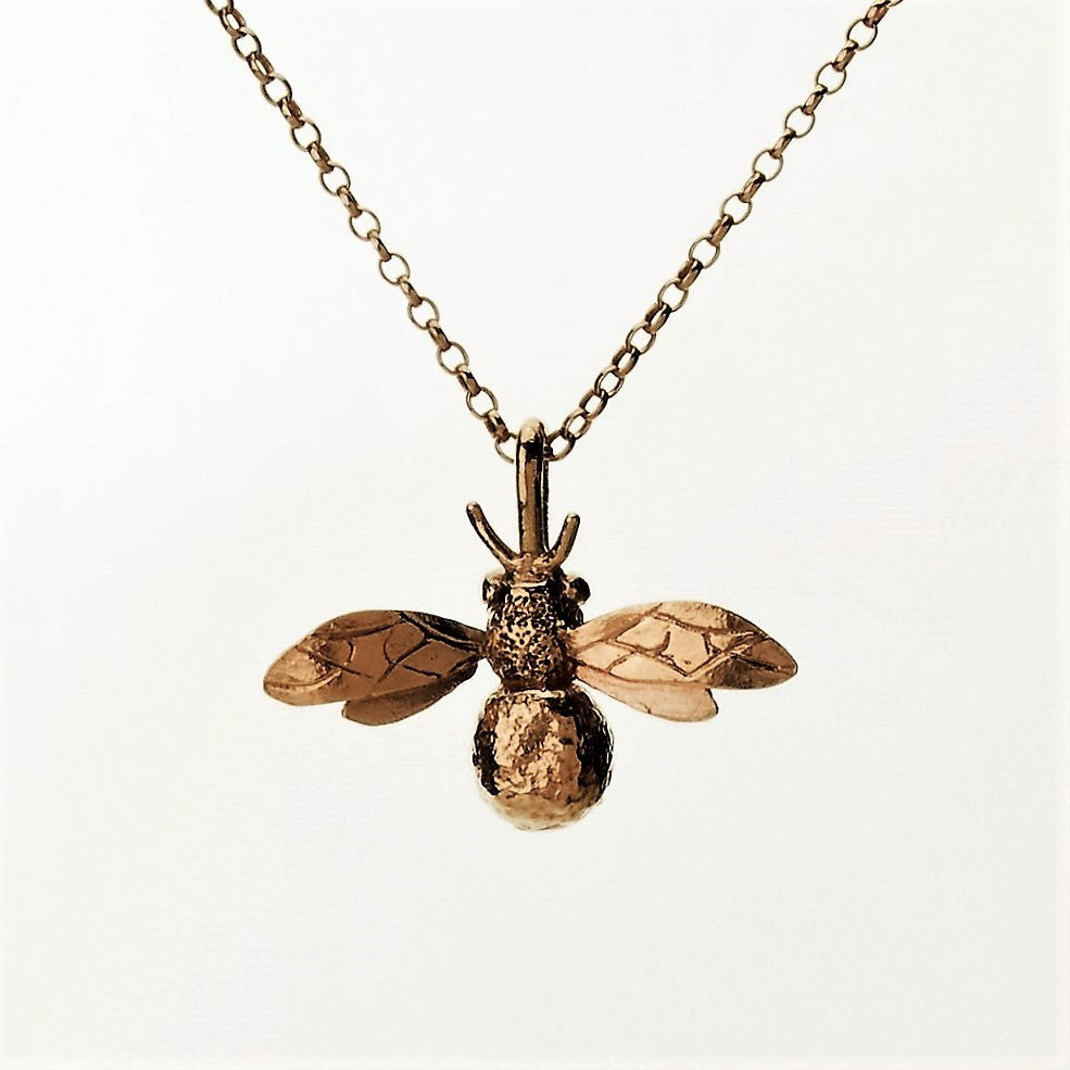 18 ct rose gold vermeil handmade bee necklace