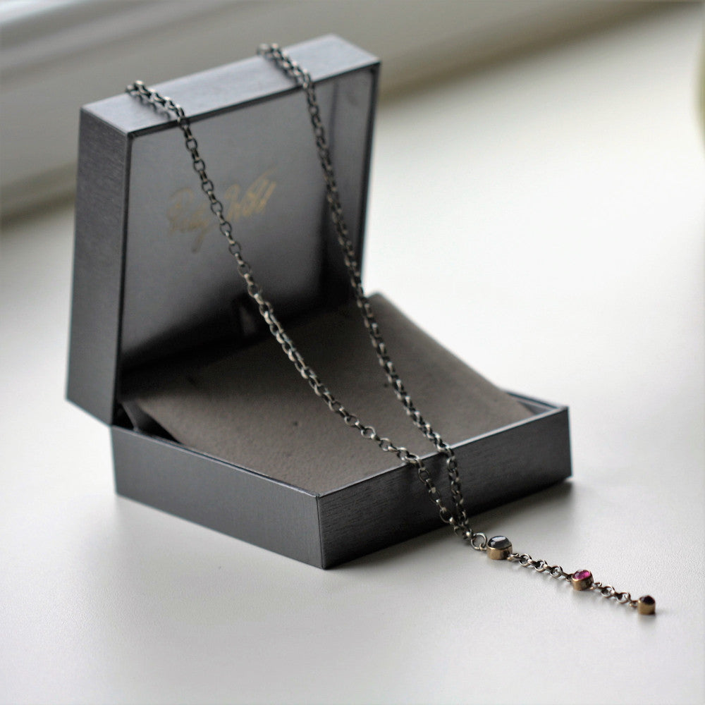Y silver and gold gemstone blossom necklace