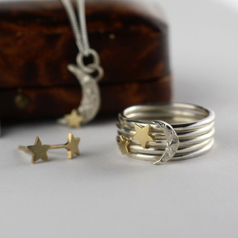 designer moon and star Luna handmade jewellery