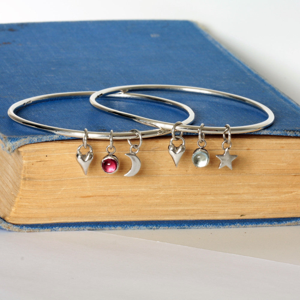 handmade silver gemstone charm wild at heart bangle