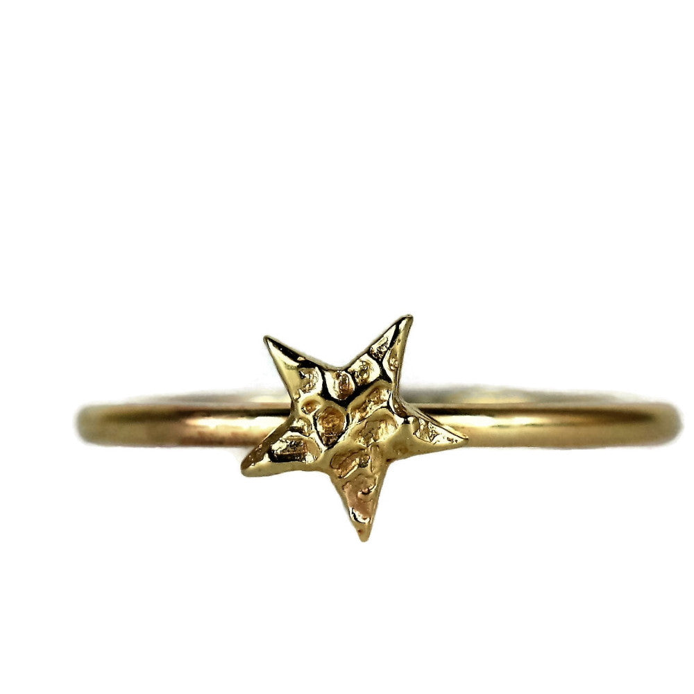 handmade solid gold textured star stackable universe ring