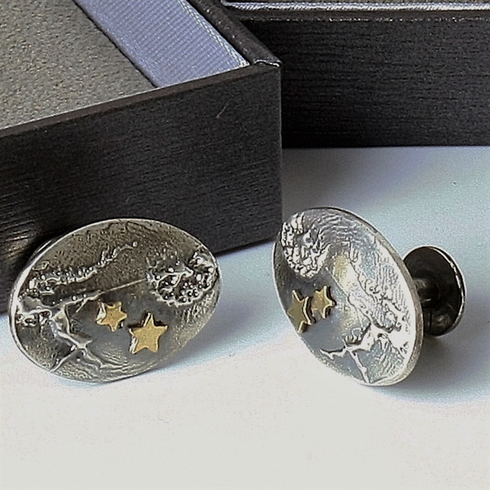 Contemporary faerie cuff links Dancing with Dandelions with gold stars