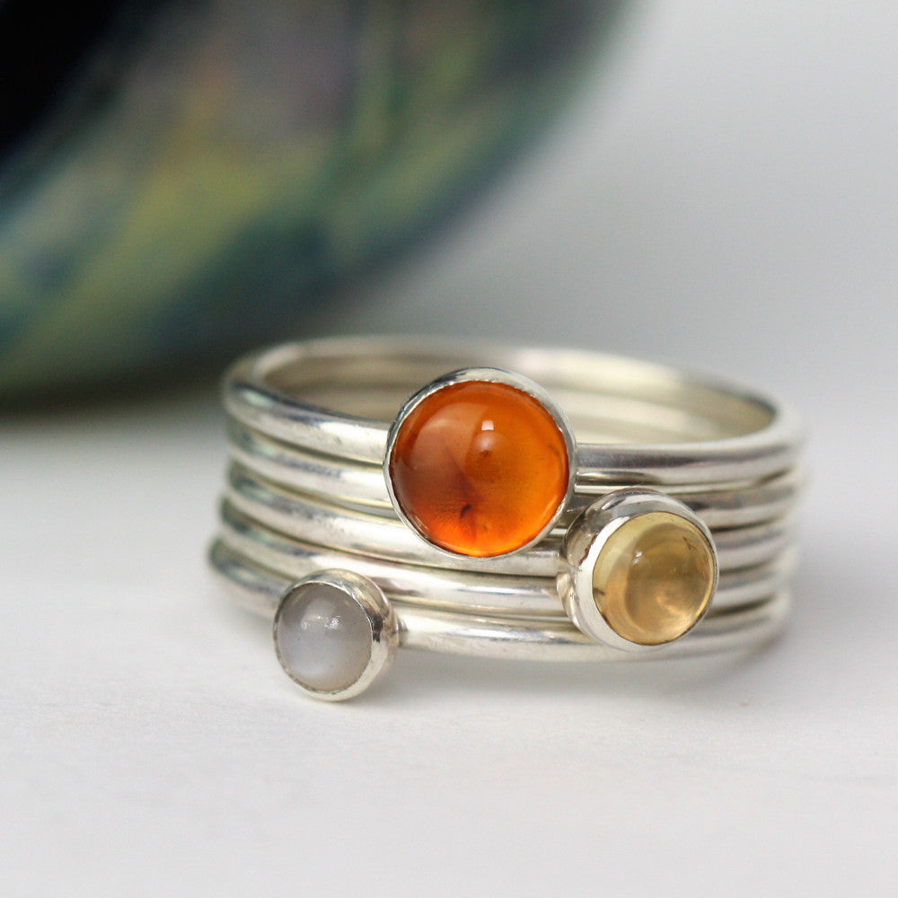Grey Moonstone, Amber and Citrine Silver Sunrise Ring Set