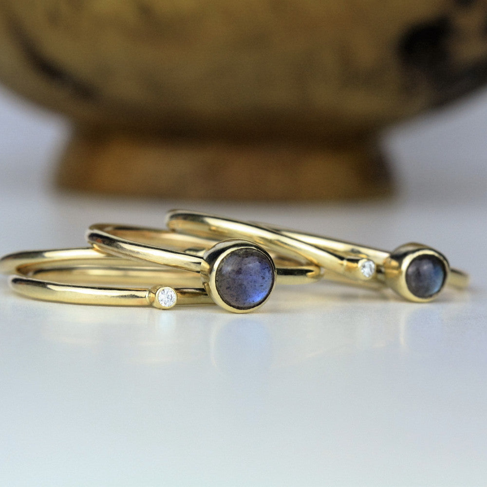diamond and labradorite solid gold galaxy stacking rings