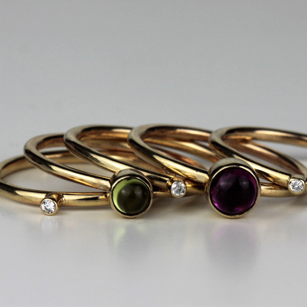 handmade solid gold gemstone and diamond wild flower gold stacking rings