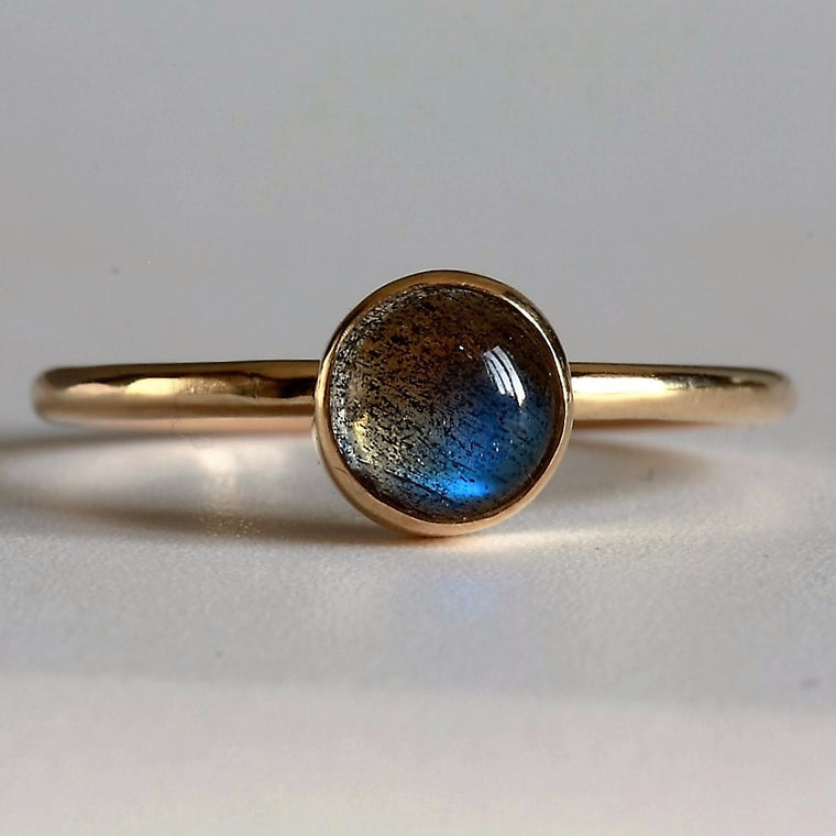 Beautiful labradorite 9ct gold handmade stacking ring