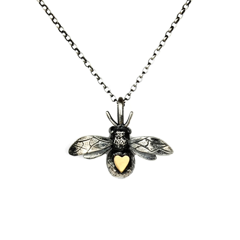9ct gold heart and oxidized silver bee necklace
