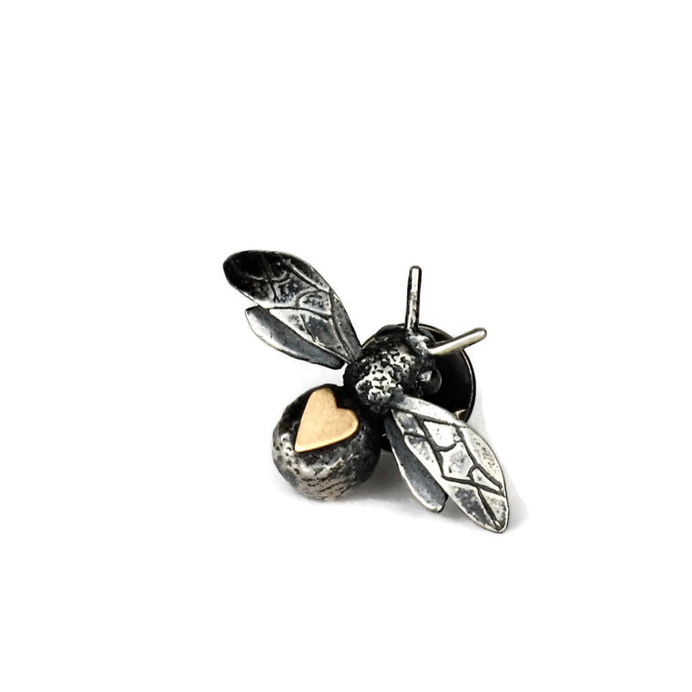 Bee and gold heart lapel pin