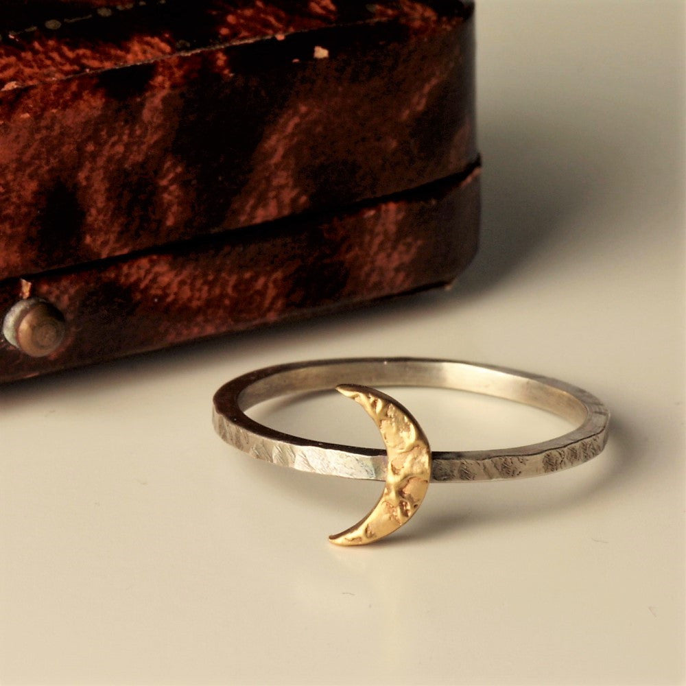 rustic gold moon and silver handmade ring