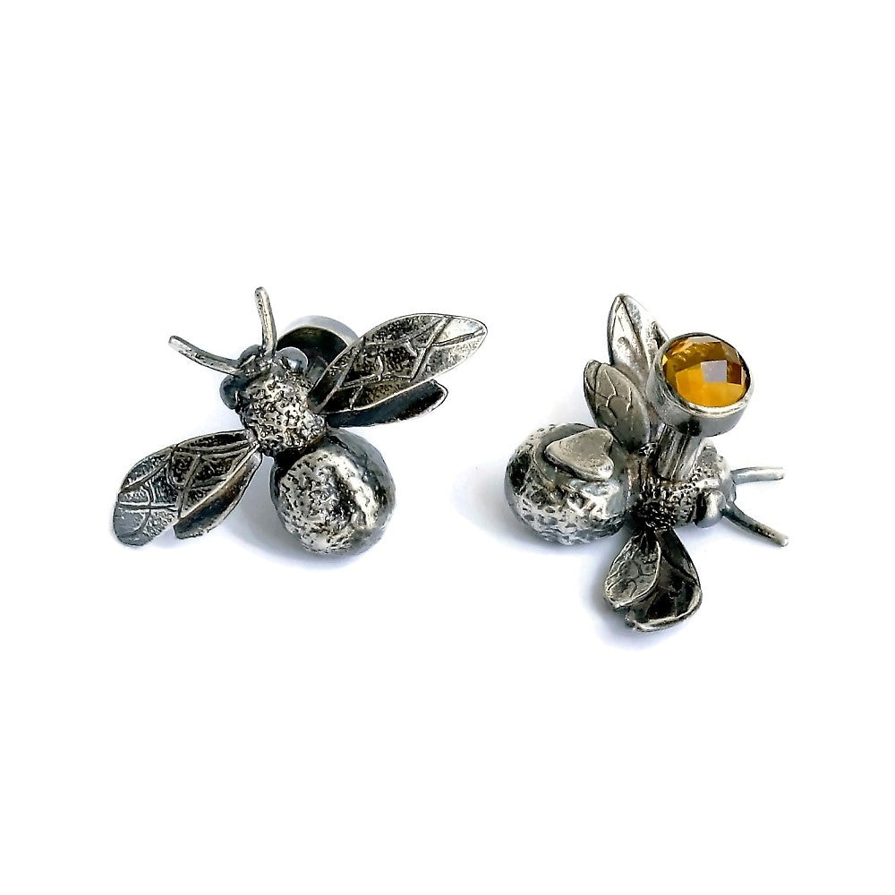 unique handmade bee and citrine designer cuff-links
