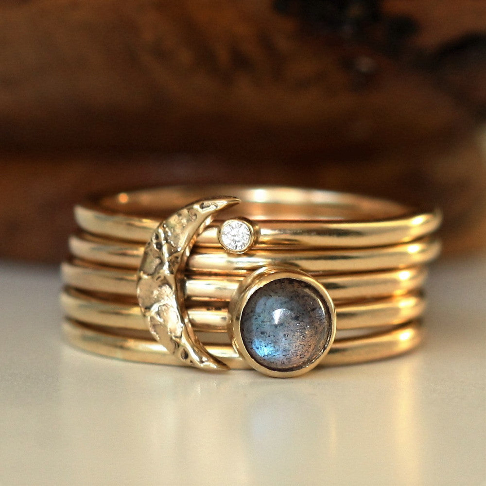 Solid Gold Textured Moon Labradorite & Diamond Stacking Rings