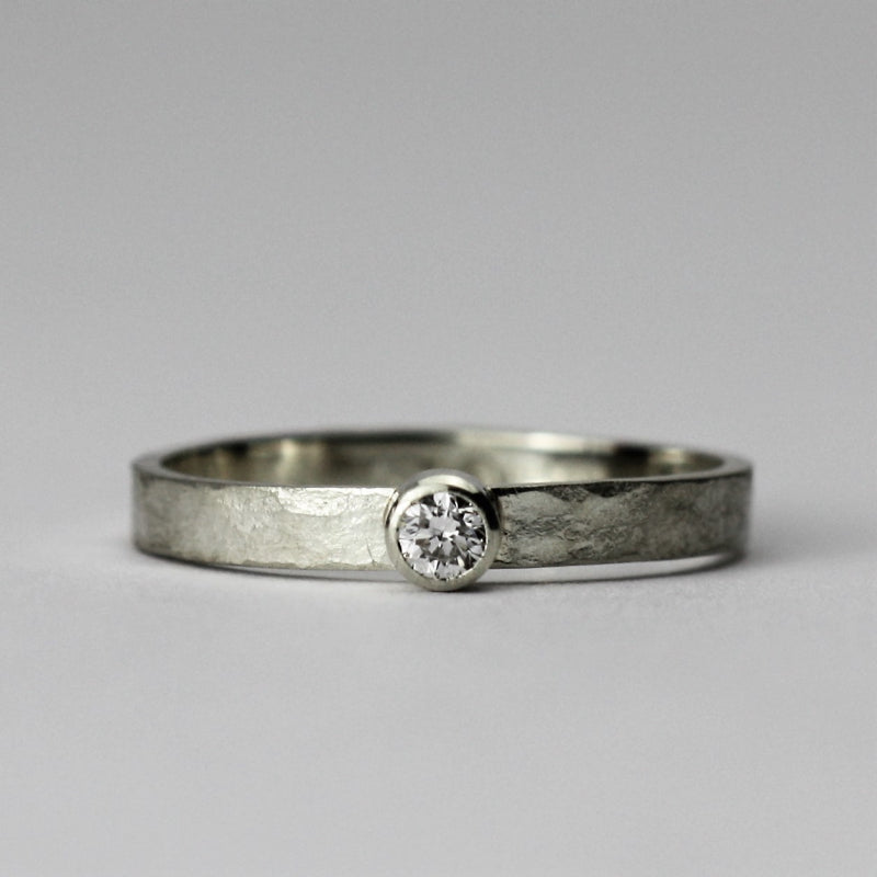 White Gold Rustic Diamond Engagement Ring