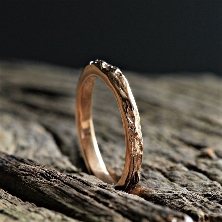 Rose gold textured handmade Slim designer wedding ring
