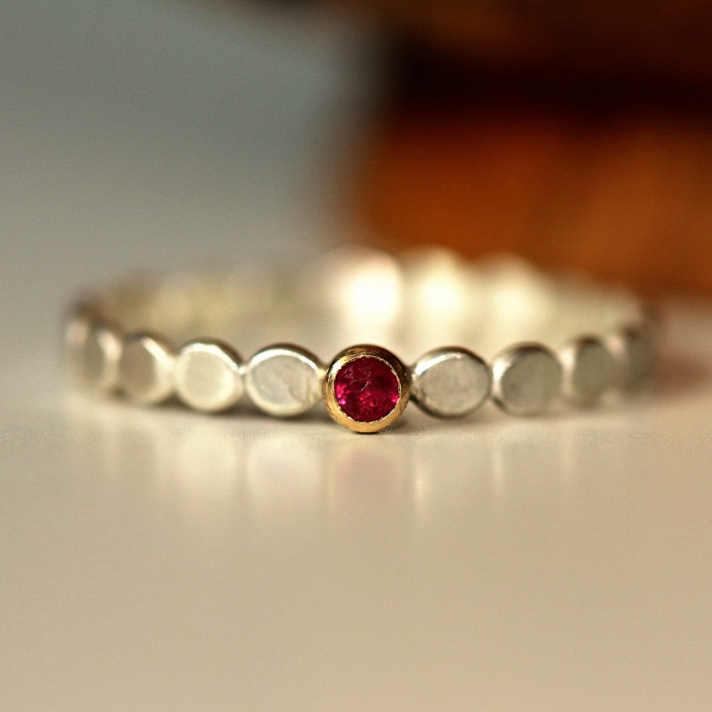 Ruby Birthstone July silver and gold pebble ring
