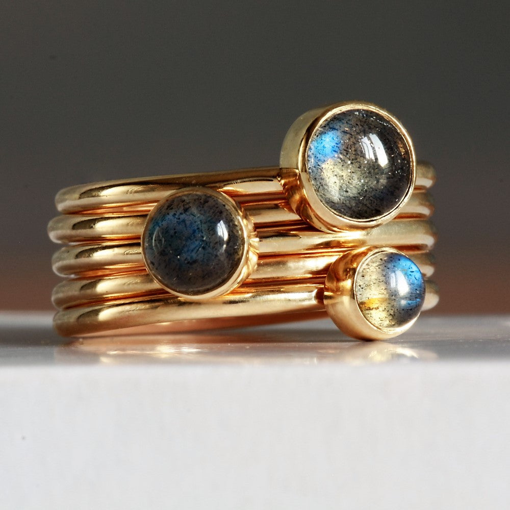 rose gold handmade Labradorite stacking ring - set of 5 gold rings