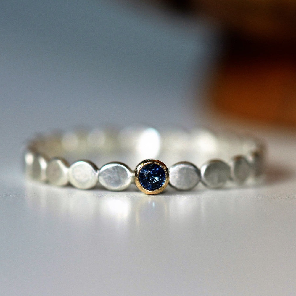 Sapphire September birthstone dainty stackable ring