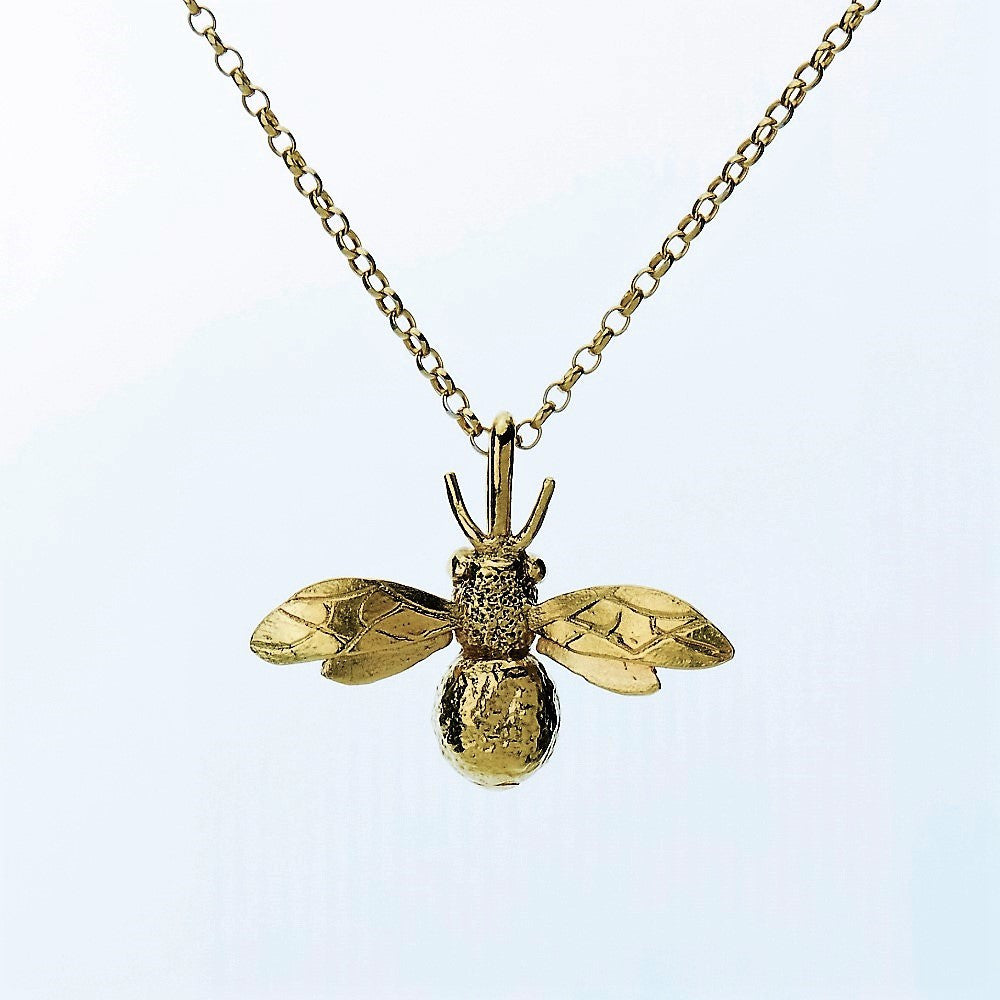yellow gold handcrafted bee necklace