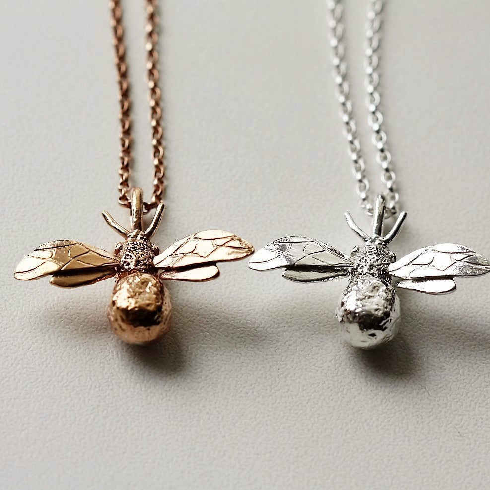 Silver Bumble Bee Necklace Pretty Wild Jewellery