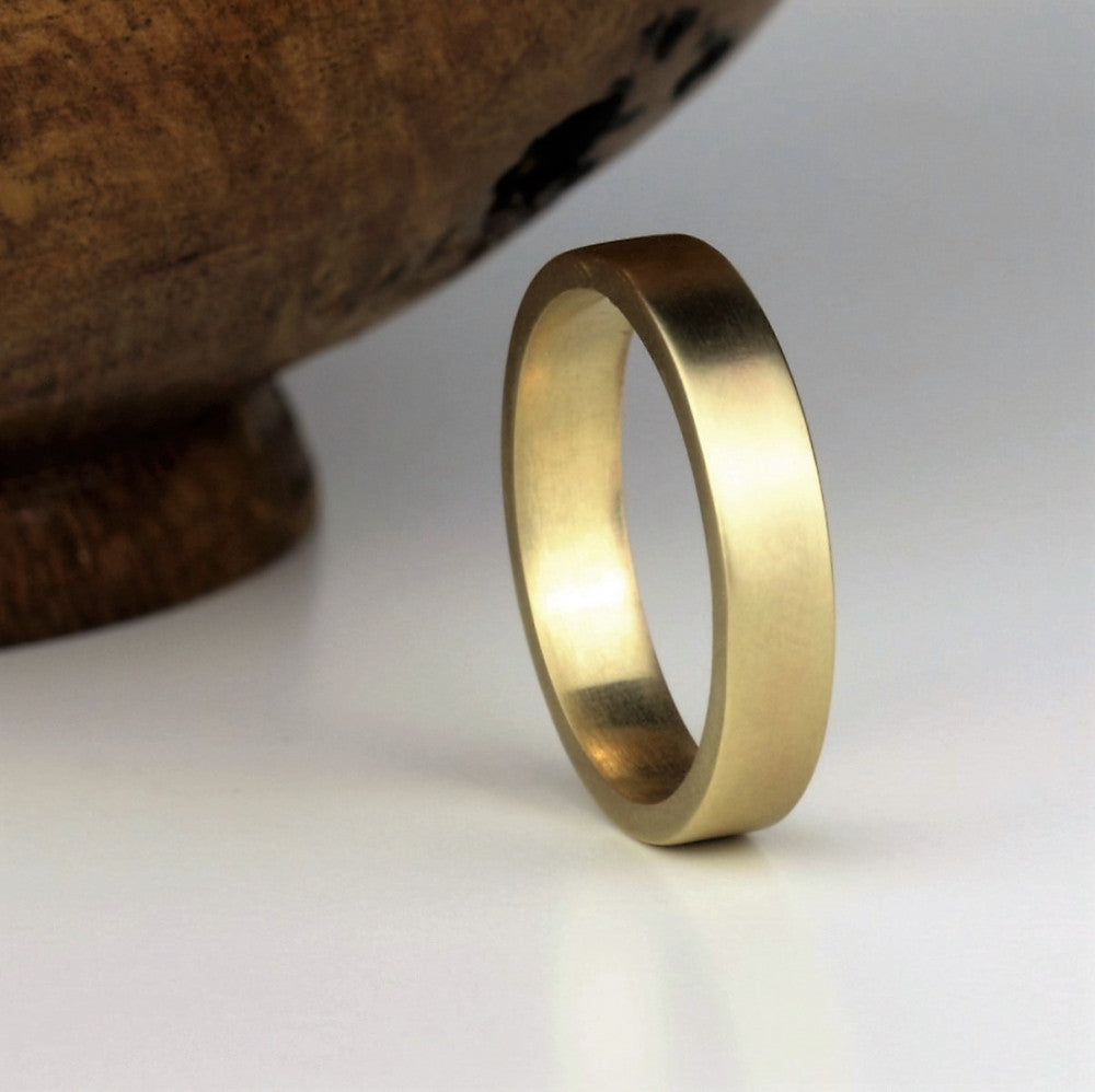 Designer 9ct brushed Matt flat band wedding ring