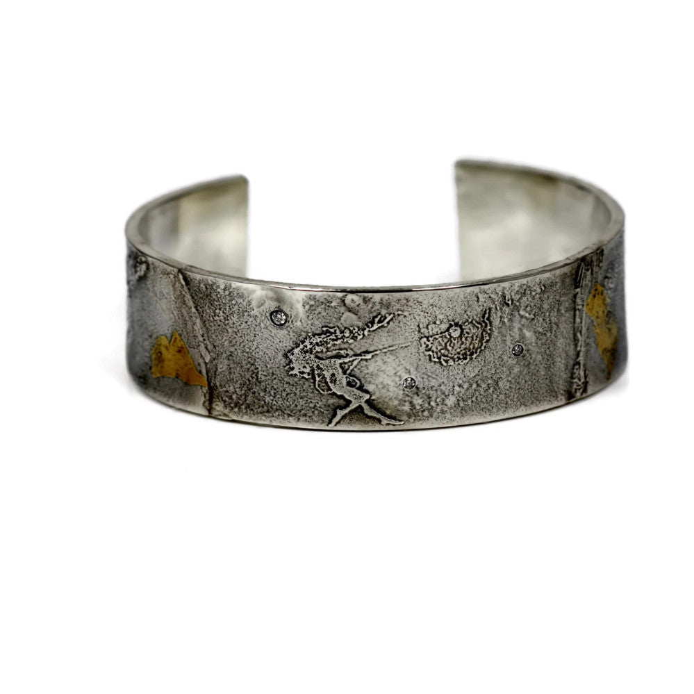 dancing with dandelions faerie cuff bracelet with diamonds and gold