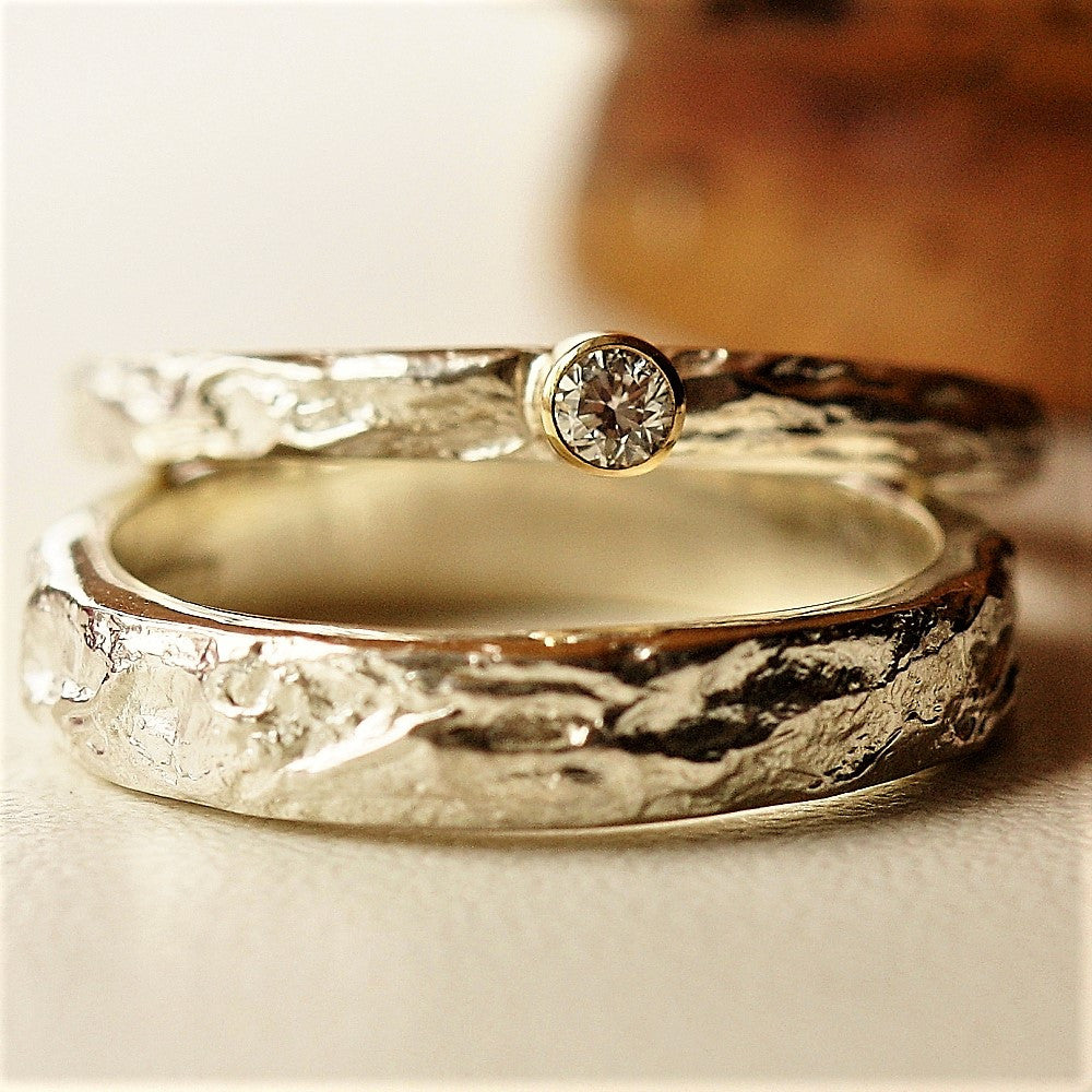 Treasure island diamond silver & gold handmade ring