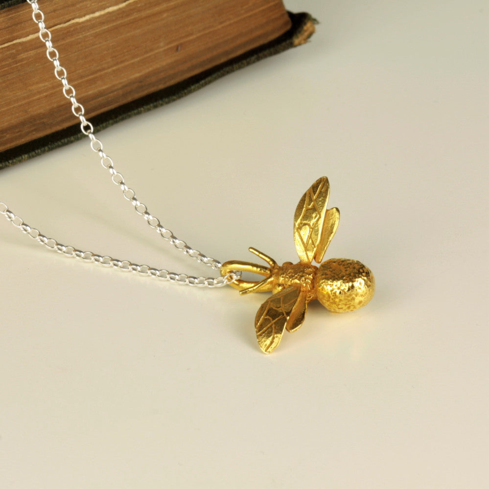 Gold bumble bee handmade necklace