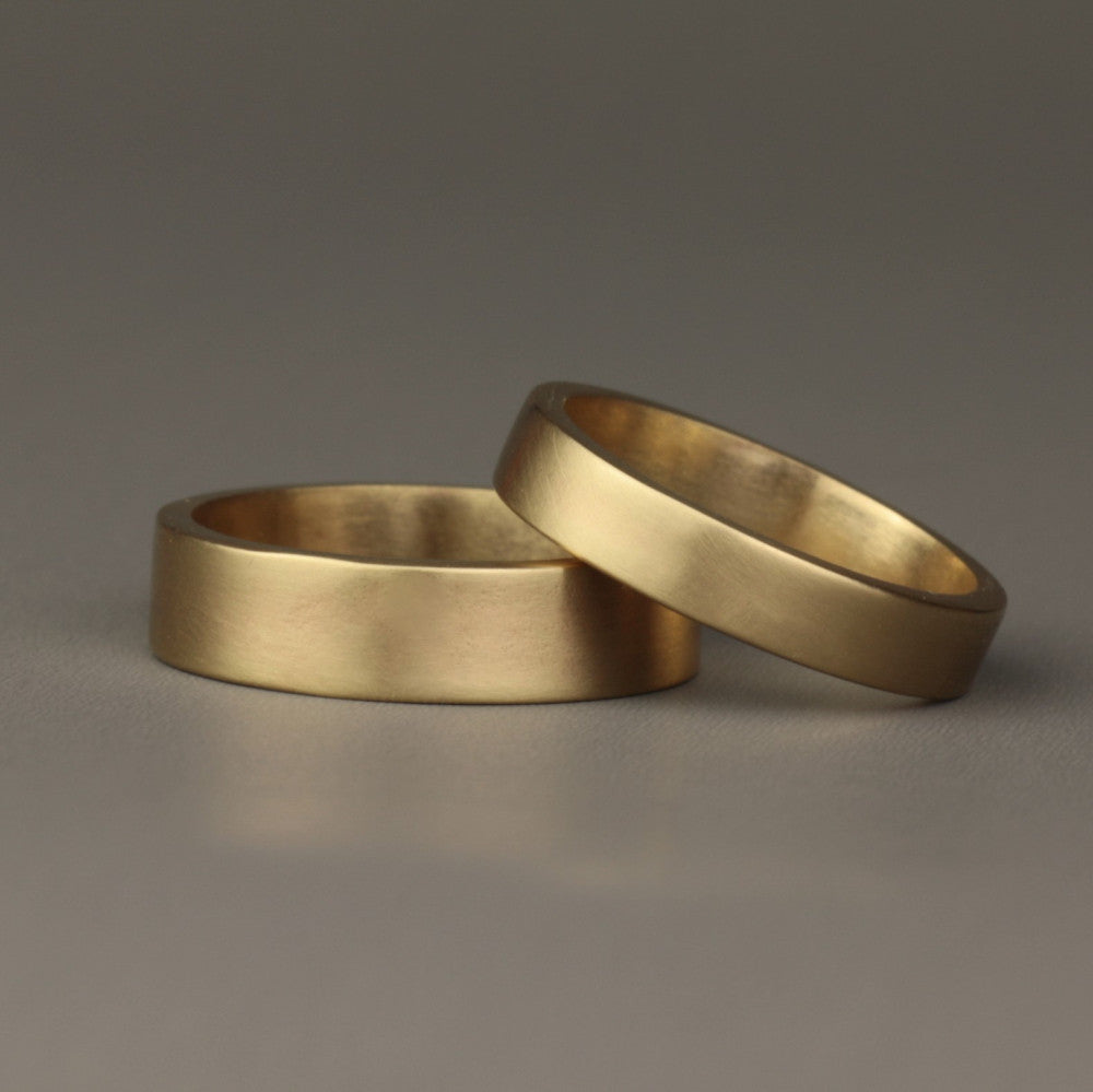 handmade solid gold brushed gold matching wedding ring bands