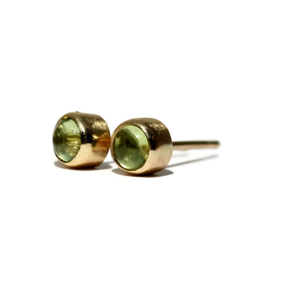 handmade dainty Peridot 9ct gold stud earrings