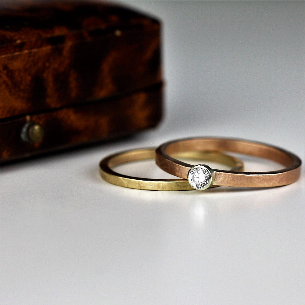 mixed metal of rose gold and white gold diamond ring
