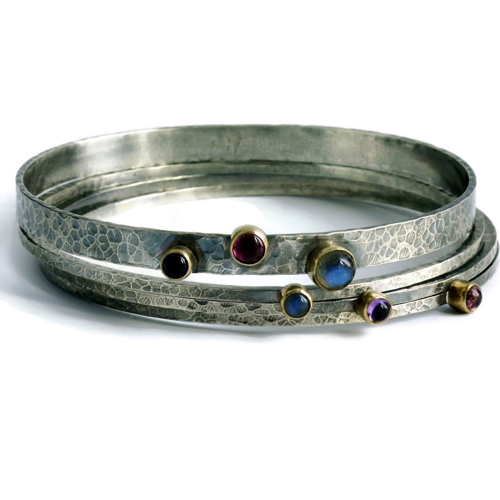 handmade designer rustic gemstone mixed metals silver and gold bangles