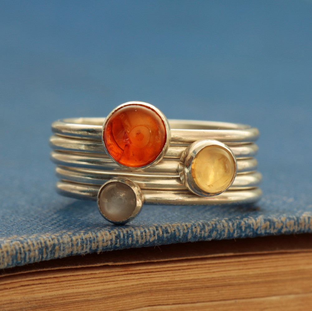 Grey Moonstone, Amber and Citrine Gemstone Ring Set