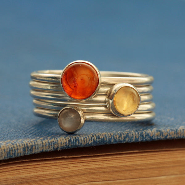 Citrine November Birthstone silver stacking rings