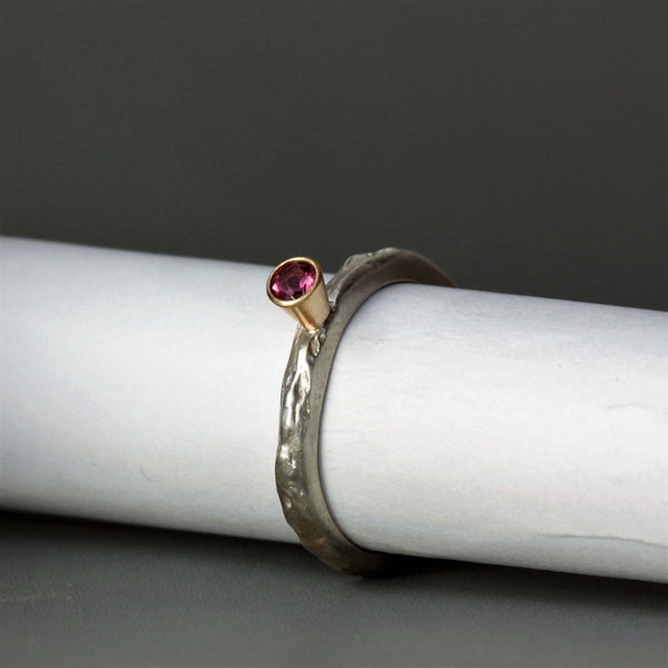 Pink Tourmaline silver and gold textured ring