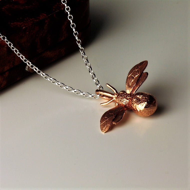 handmade rose gold and silver bumble bee necklace