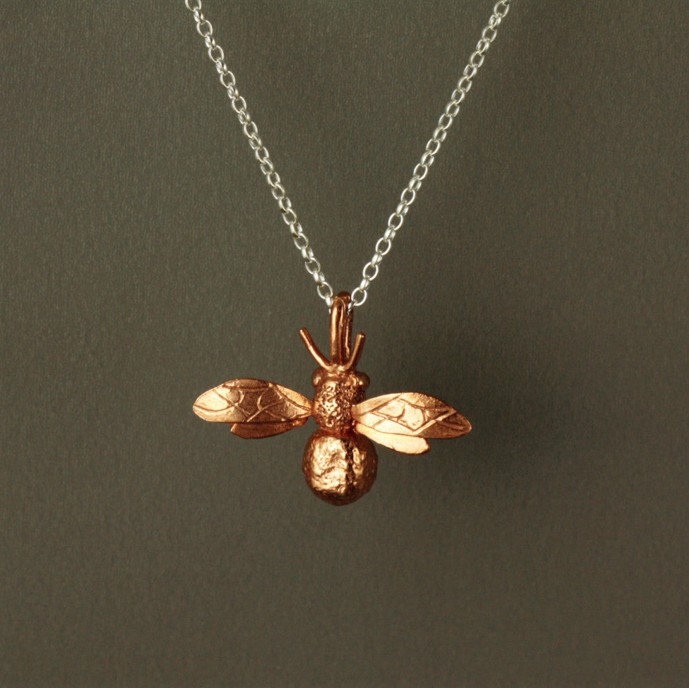 handmade rose gold bee necklace