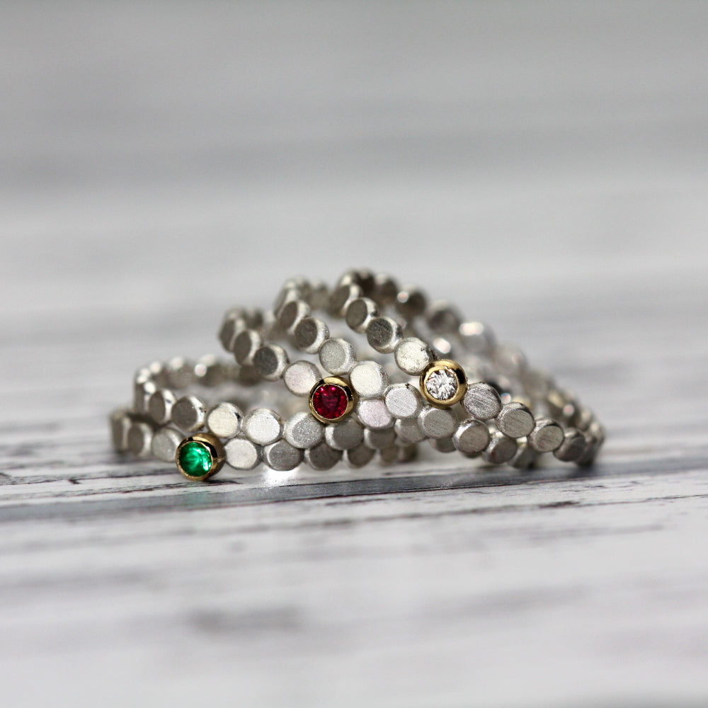 Ruby, Diamond and Emerald silver & gold pebble stacking rings