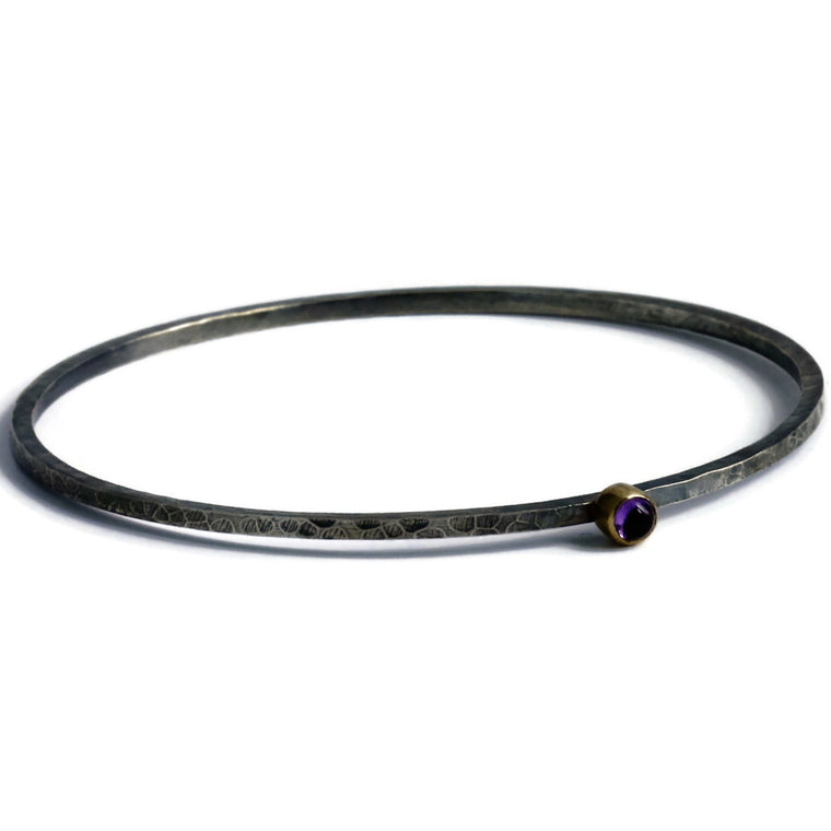 mixed metals of silver and gold rustic hammered amethyst bangle