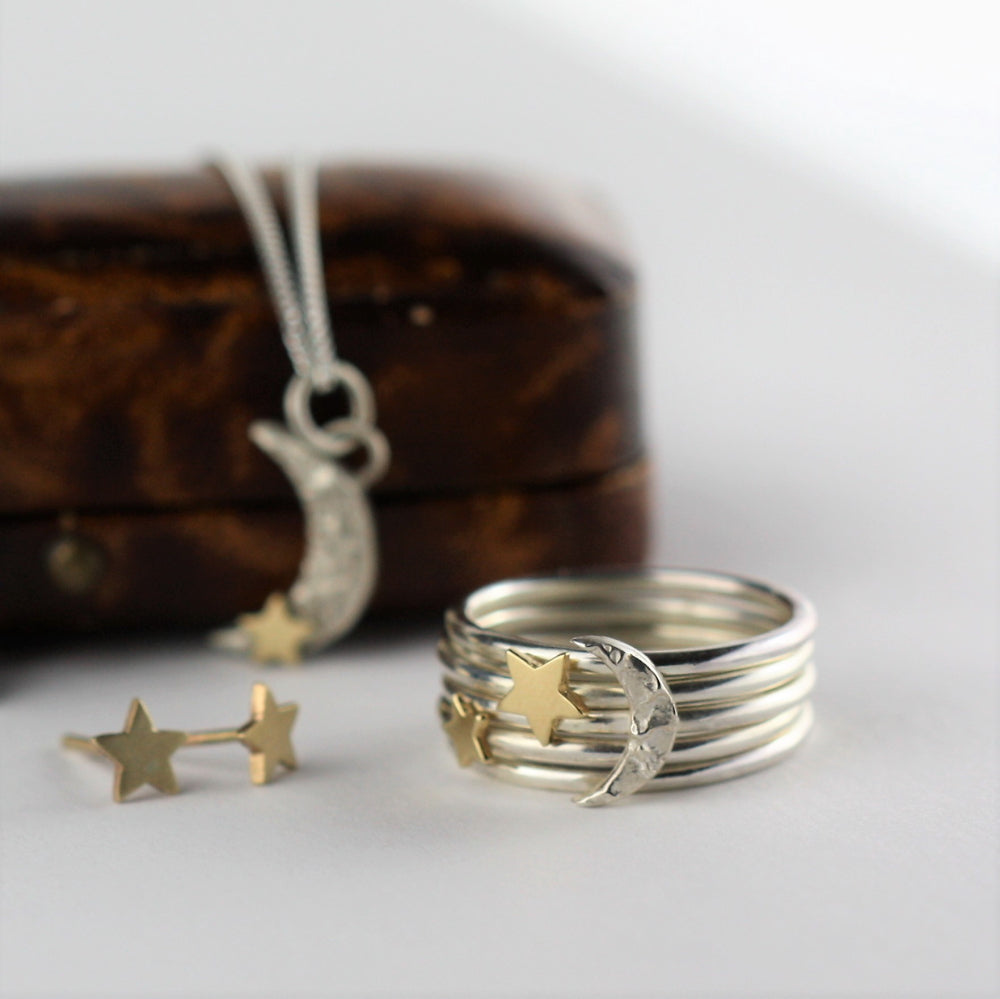 Handmade matching Luna silver and gold jewellery