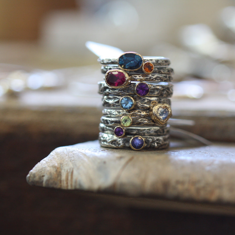 Blue Topaz, Pink Tourmaline, Amethyst, Moonstone Heart Rings