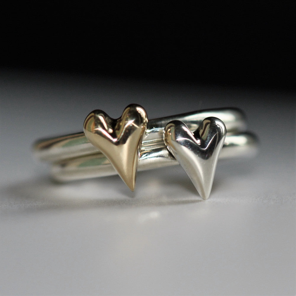 gold and silver mixed metal heart chunky ring band