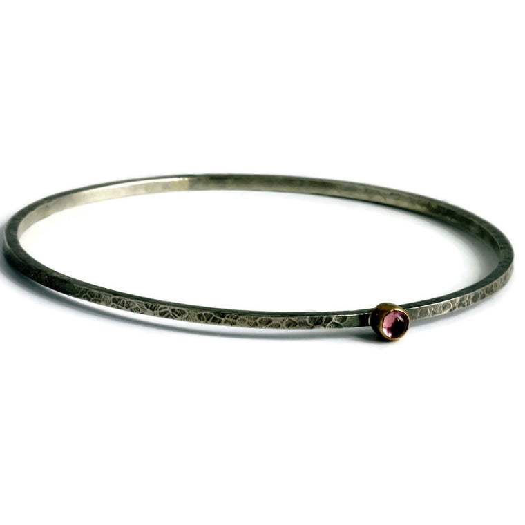 handmade rustic pink tourmaline silver and gold mixed metal stacking bangle